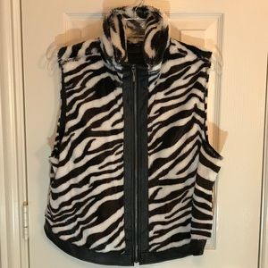 Multiples faux zebra vest